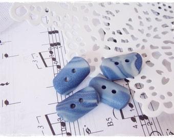 Polymer Clay Buttons, Navy Toggle Buttons, Nautical Blue Buttons, Oblong Blue Buttons, Crocheting Supplies, Rectangular Buttons, Navy Button