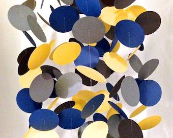 Navy Blue, Yellow, Gray Paper Mobile, Nursery Mobile, Circle Mobile, Circle Paper Mobile, Kids Room Mobile, Crib Mobile
