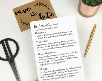 Funny Bridesmaid Card, Bridesmaid Card, Be My Bridesmaid Card, Wedding Card, Funny Wedding Card, Dictionary Definition Card, Humour Card