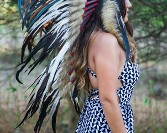 The Original - Real Feather Natural Tone Chief Indian Headdress Replica 100cm, Native American Style Costume Hand Made War Bonnet