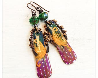 Golden butterfly - painted brass earrings - pink green and gold earrings