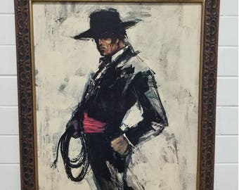 Vintage 70S Matador Bull Fighter Framed Art Pictures Print Keith Lee