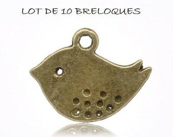 Set of 10 charms bird bronze (R22)