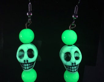 Fluorescent Skull Earrings
