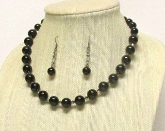 "19"" Black Glass Pearl Necklace Set #20832 black pearl necklace"