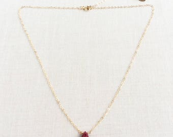 Ruby Necklace with Extender ,Gold Ruby Necklace, Genuine Ruby Necklace, Red Stone Necklace, July Birthstone Necklace, Ruby Necklace 14k BN7