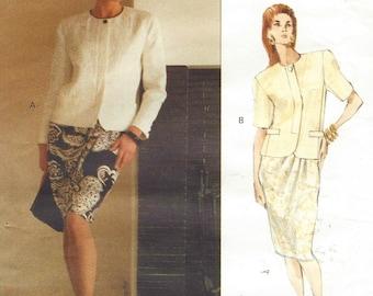 90s Genny Womens Above Hip Jacket & Tapered Skirt Vogue Sewing Pattern 2469 Size 6 8 10 Bust 30 1/2 to 32 1/2 FF Vogue Designer Original