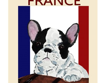 Frenchie French Bulldog, 'Visit FRANCE' Fine Art Print