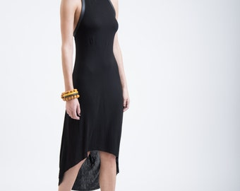 Halter Midi Dress / Stylish Dress / Asymmetric Tunic / Faux Leather Dress / Black Dress / Extravagant Dress / Marcellamoda - MD0254