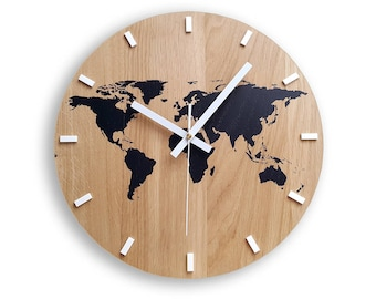 World map clock etsy wall clock wood clock large wall clock gift wall decor unique wall oak clocks world map gumiabroncs