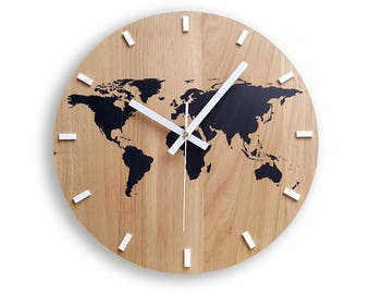 World map clock etsy wall clock wood clock large wall clock gift wall decor unique wall oak clocks world map gumiabroncs Gallery