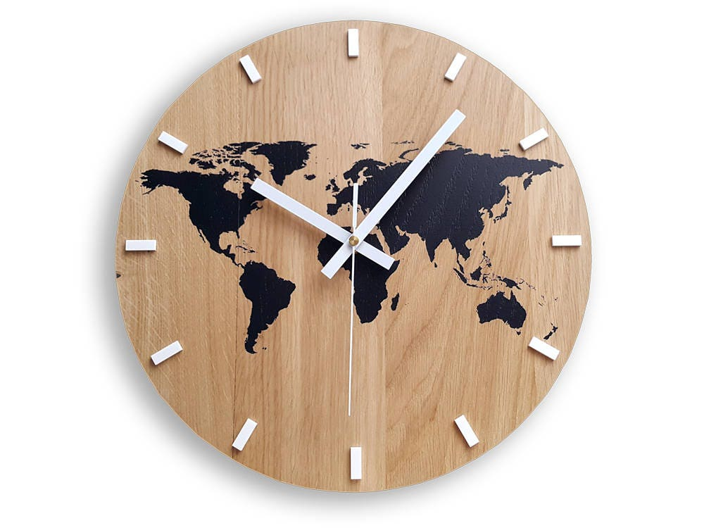 Wall clock wood clock large wall clock gift wall decor unique wall wall clock wood clock large wall clock gift wall decor unique wall oak clocks world map gumiabroncs Gallery
