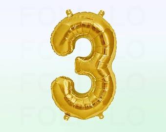 Metallic Gold Number 3 Balloon   Gold 3 Birthday Balloon   Gold Number 3 Balloon   Jumbo Number 3 Balloon