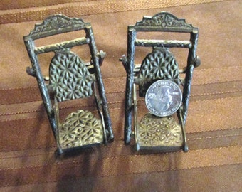 Antique Victotian brass folding doll deck chairs RARE