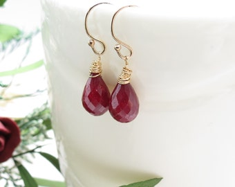 Ruby Earrings In Gold Filled, July Birthstone, Red Gemstone Earrings, Genuine Ruby,  Elegant Earrings, Made By Keira's Crystal Creations