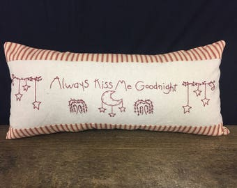 """Hand embroidered throw pillows. """"Always kiss me goodnight"""" stars and moon. Red or black."""