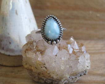 Baby Blue Larimar Ring, Statement Ring, Gift for Her, Boho RIng, Sterling Silver Ring, Southwestern Ring,