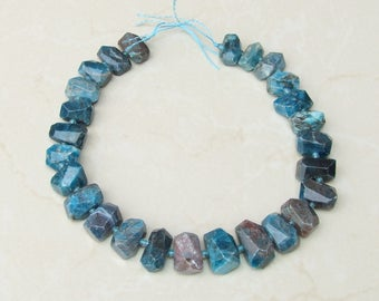 Blue Apatite Faceted Nugget - Apatite Nugget - Polished Apatite - Apatite Bead - Half Strand - 13mm x 13mm x 22mm