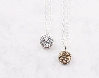 Druzy necklace, sterling silver chain, druzy jewelry, druzy pendant, minimalist jewelry, layering necklace, real druzy stone, silver druzy