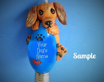 Dachshund Dog Red long hair coat  Holidays Light Bulb Ornament Sally's Bits of Clay OOAK PERSONALIZED FREE with dog's name