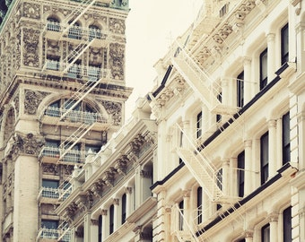 New York Art, NYC Print, New York Photography, Soho Architecture Photography, White Wall Art, Cast Iron Building - So Soho #2