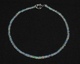 Natural OPAL Bracelet, Ethiopian Opal Beads, 2.5 - 3 mm size, Smooth Rondelle Beads, Welo Opal Bracelet, Item No. 285