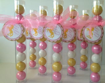 UNICORN Gold and Pink theme, UNICORN Gumball Tube Party Favors, Set of 12, Gold, Shimmer Pink and White with Personalization