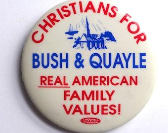 Christians For Bush & Quayle Button, 1988 Presidential Campaign, Republican Party, GOP, Pinback Campaign Button
