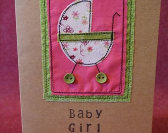 Handmade original Farbic card, Baby Girl, new baby, daughter, grand-daughter, new arrival