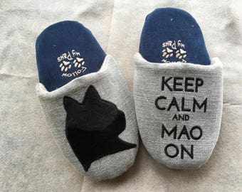 Warm Home Cat Slippers, Keep Calm Cat
