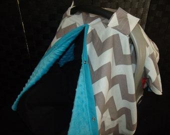 Carseat Canopy Minky Chevron Turqoiuse Blanket Cover car seat canopy car seat cover car seat canopy