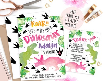 Dinosaur Invitations, Dinosaur party, Dinosaur invite, Dinosaur birthday invitation, pink Dinosaur, girl birthday, printable invitation