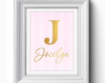 Custom Nursery Print, Custom Baby Girl Name Print, Baby Boy, Gold Typography Print, Personalized Baby Nursery Print, Custom Nursery Art