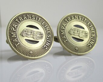 TAMPA Transit Token Cuff Links - Repurposed / Upcycled Vintage Coins