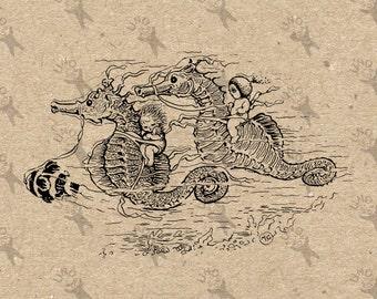 Jahrgang Seepferdchen Instant Download Digital bedruckbare Clipart Grafik Jute Stoff übertragen Eisen auf Kissen Totes Geschirrtücher etc. HQ 300dpi