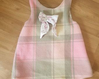 upcycled vintage blanket pinny dress size 3