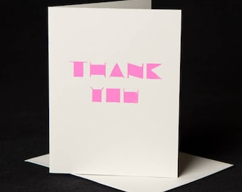 Thank You Card, Screen printed by hand