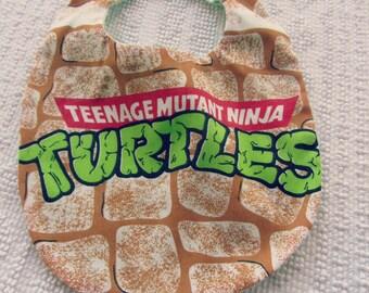 Turtles Baby Bib, Teenage Mutant Ninja Turtle BABY Bib, TMNT, Upcycled Bib - Turtles Baby Bib - Repurposed Vintage Sheets Bib - TMNT Bib