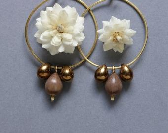 hammered brass hoop earrings with drop dangles - natural seed jewelry - everyday boho bronze earrings