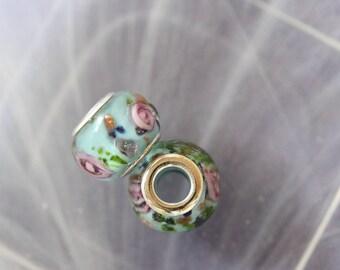 Blue lampwork charm bead