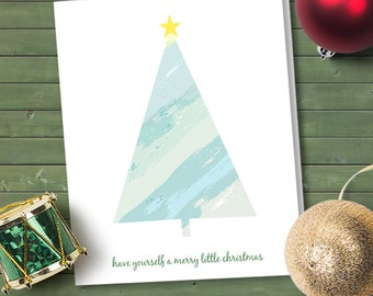 Printable Simple Watercolor Christmas Tree Greeting Card, Instant Download Editable PDF