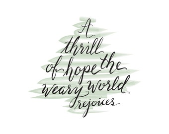 A Thrill of Hope | 8x10 | Hand Lettered Digital Download | Christmas Print | Christmas Download