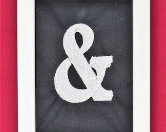 Ampersand Sign, Ampersand Wall Art, And Symbol, Framed Embroidery, Embroidery Hoop Art, Ampersand Symbol, Ampersand Decor, Chalkboard Decor