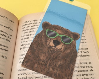 Bosley bear handmade laminated bookmark, papa bear gift, summer reading, book liver gift