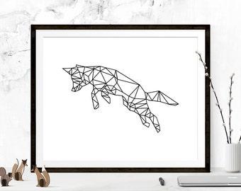 Geometric Fox, Fox Art, Fox Prints, Origami Art, Origami Prints, Fox Wall Art, Printable Art, Fox Wall Print, Printable Art, Nursery Print