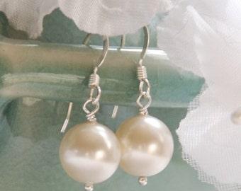 Bridal Earrings, Bridesmaid Pearl Earrings, Single Pearl Drop, Bridesmaid Gift,  Wedding Jewelry, Swarovski 10 mm Pearls in Sterling Silver