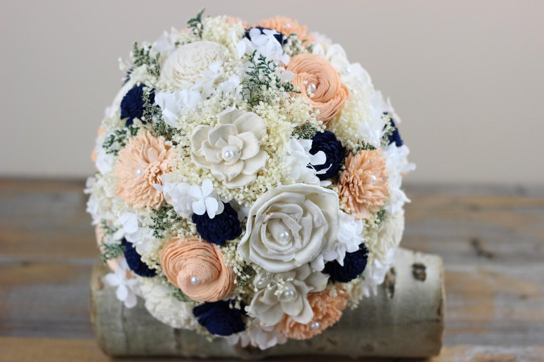 Peach navy bridal bouquet sola flower bouquet alternative zoom izmirmasajfo