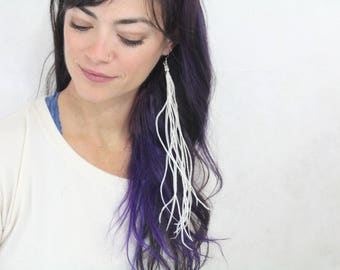 Long Feather Earring - Single Earring White Rooster Feather Asymmetrical Earrings - Boho Hippie Jewelry