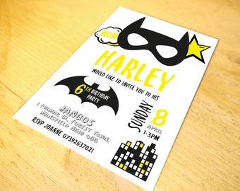 Batman Superhero Party Invitations • Qty 50 - 99 • including Envelopes