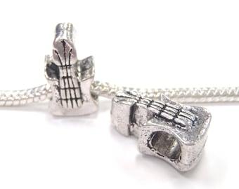 3 Beads - Guitar Ukulele Music Silver European Bead Charm E1187